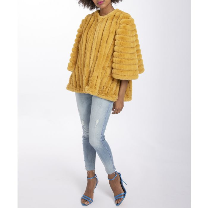 Image for Mustard faux fur quilted cape