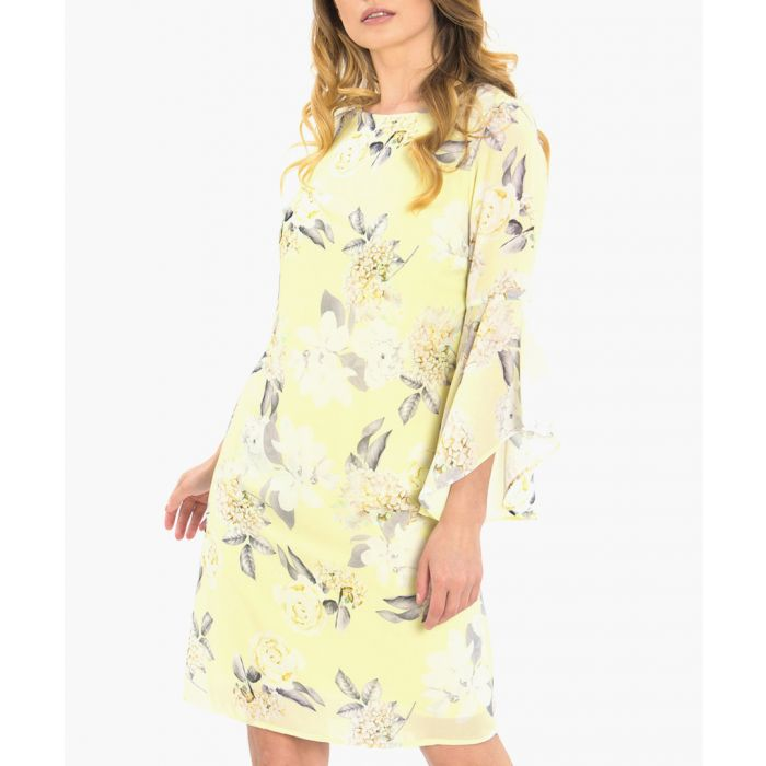 Image for Yellow floral print knee-length dress