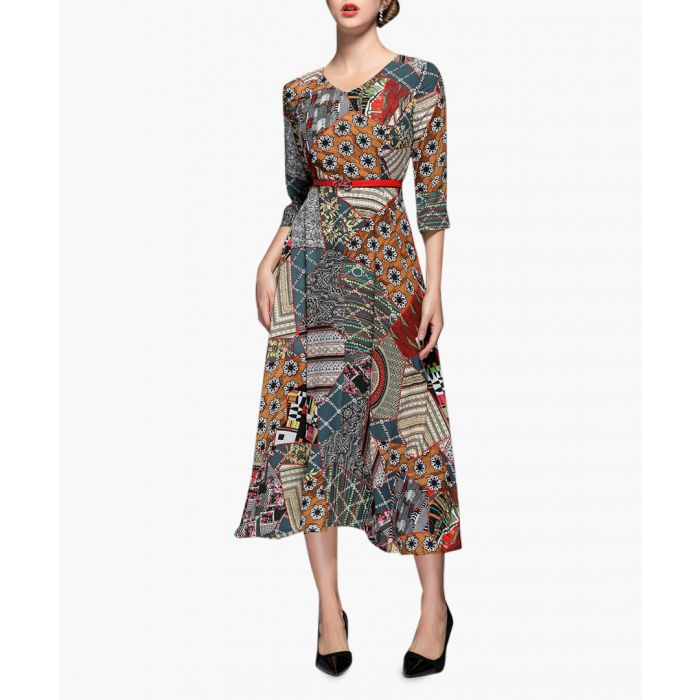 Image for Tan & teal print belted midi dress