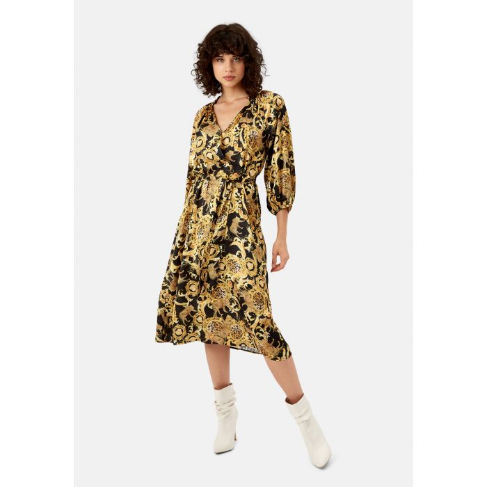 Image for Belt Up black and gold-tone printed midi dress