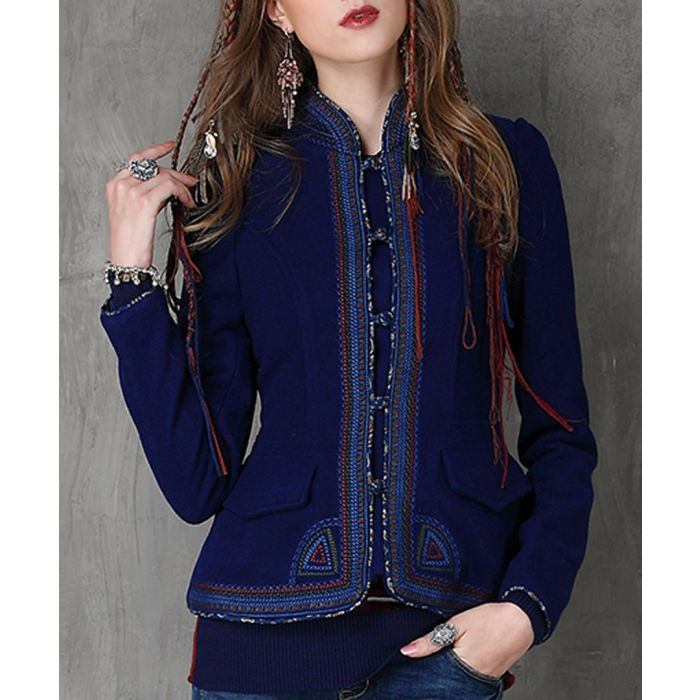 Image for Dark blue cotton & wool trim jacket