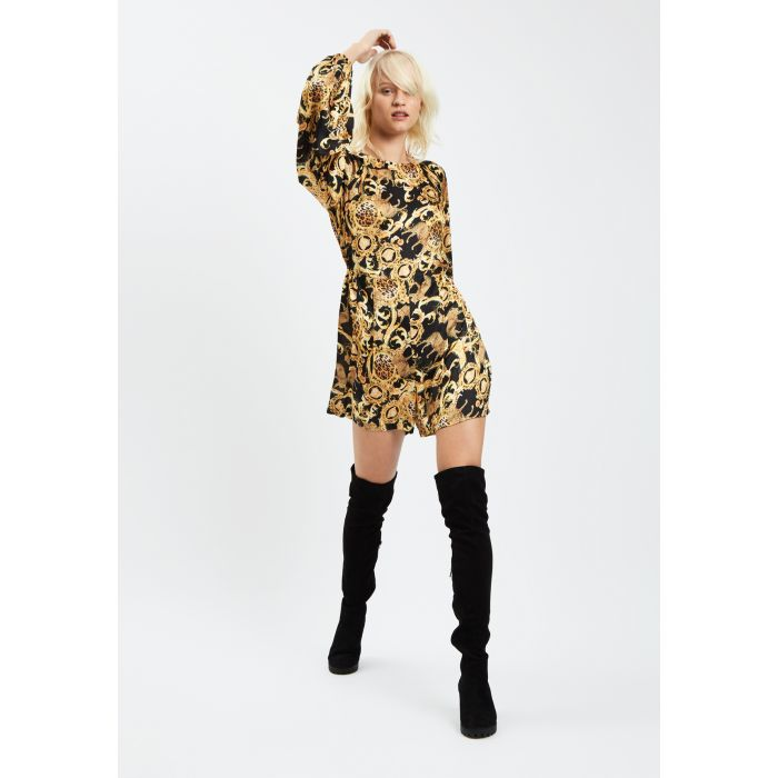 Image for Bambi Printed Long Sleeve Playsuit in Black and Gold