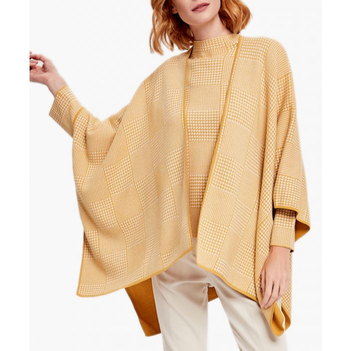 Image for Yellow & white printed poncho