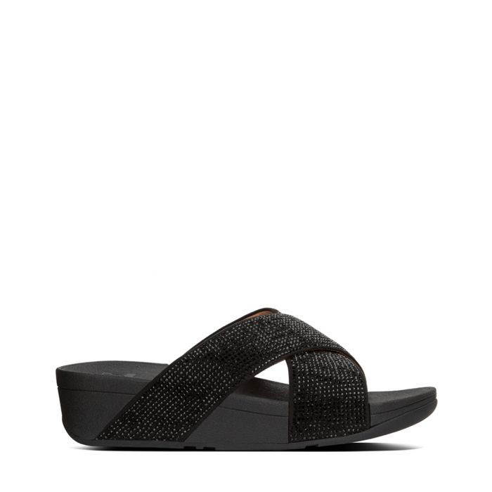 Image for Ritzy black leather strap sliders