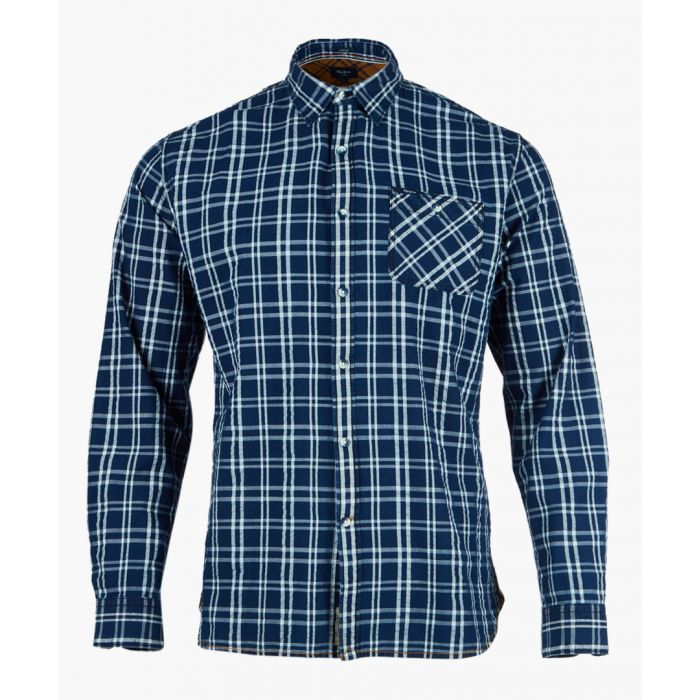 Image for Dark blue check button-up shirt