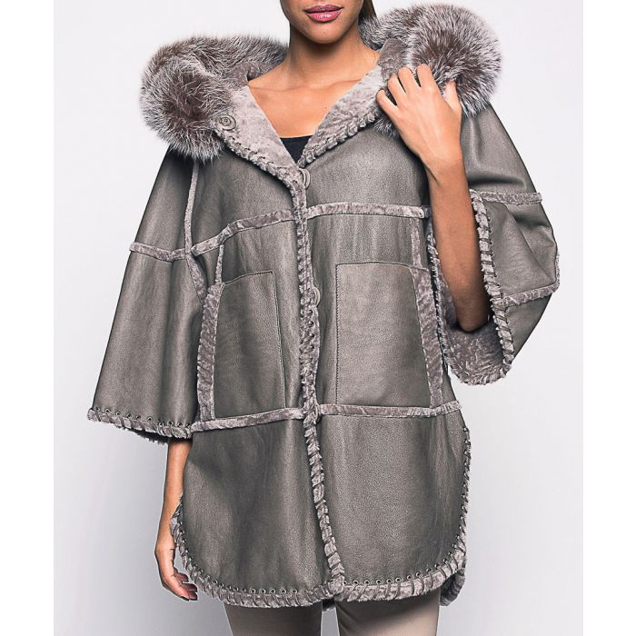Image for Brillance brown leather cape