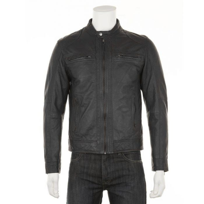 Image for Men's Black leather perforated jacket