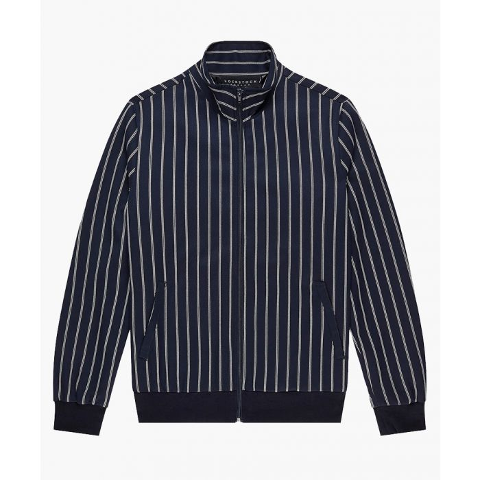 Image for Navy striped bomber jacket