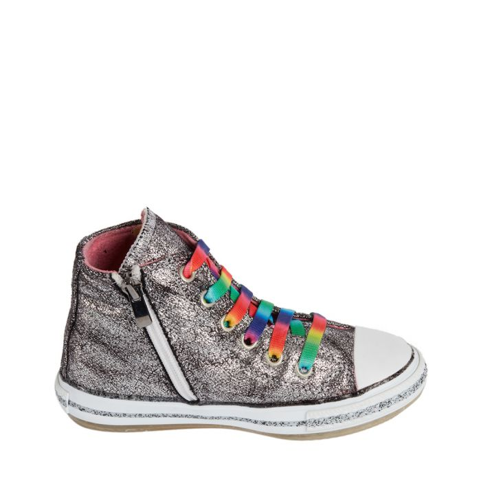 Image for Silver-tone rainbow lace-up sneakers