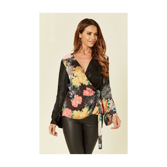 Image for Eliza Satin Floral Print Wrap Top
