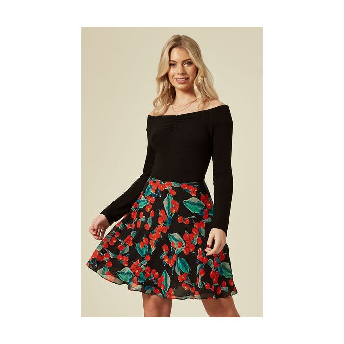 Image for Off The Shoulder Cherry Print Mini Dress