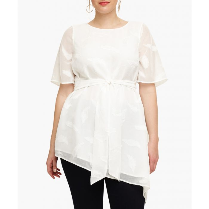 Image for Sloane ivory waist-tie asymmetrical top