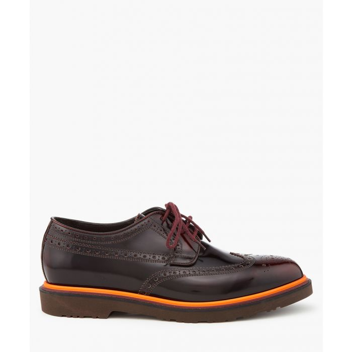 Image for Burgundy leather perforated shoes