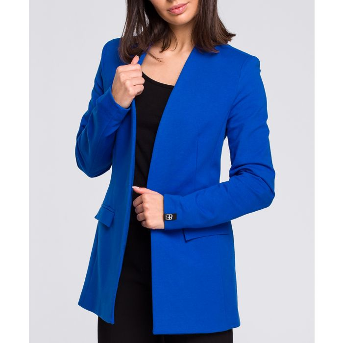 Image for Royal blue cotton blend blazer