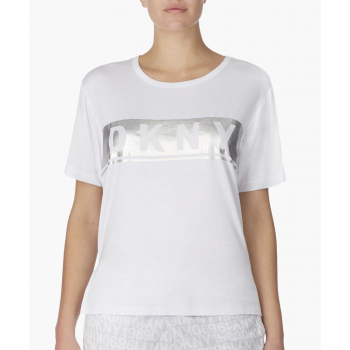 Image for White logo print lounge T-shirt