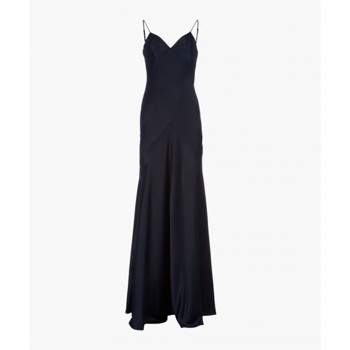 Image for Midnight satin strappy maxi dress