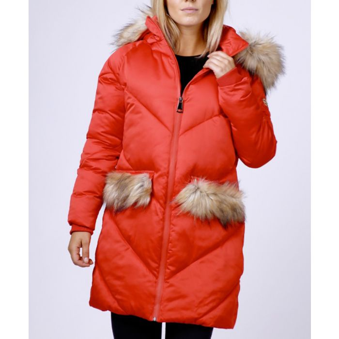 Image for Red faux fur trim quilted shell coat