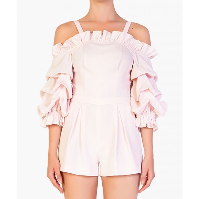 Image for Light pink cold-shoulder ruffle playsuit