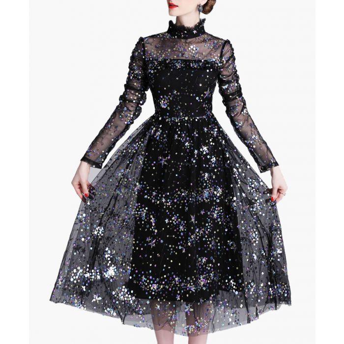 Image for black sheer layer high neck dress