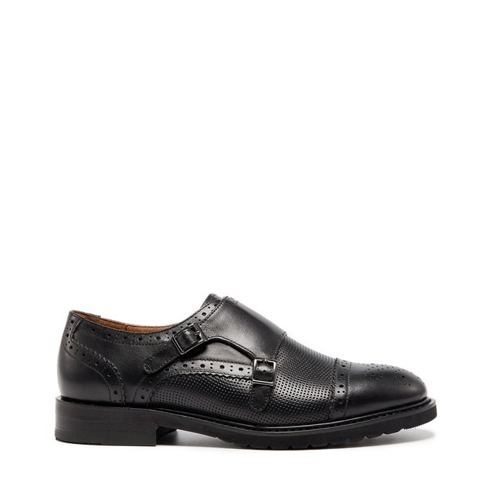 Image for Black leather monkstrap shoes