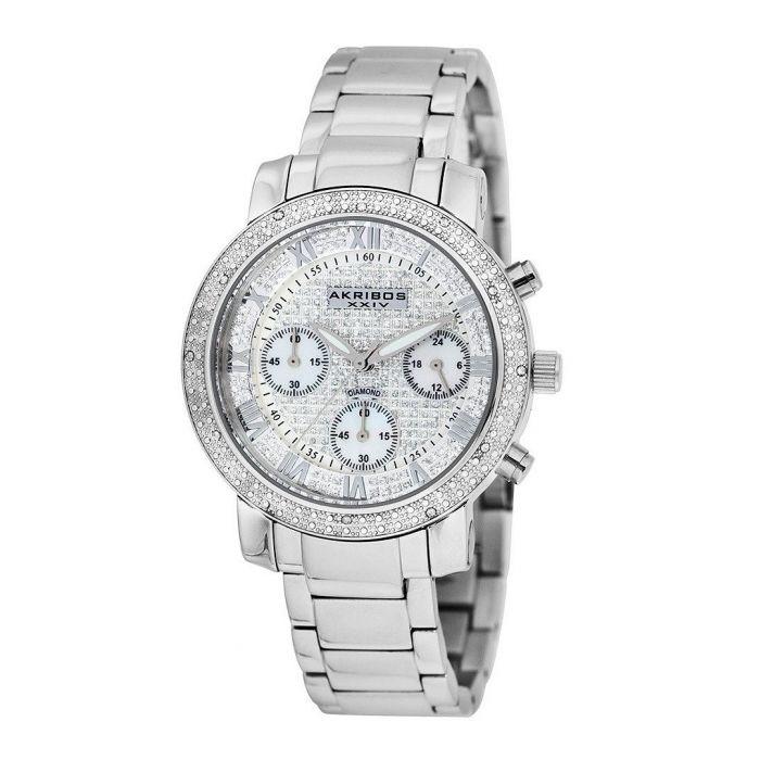 Image for Silver-tone diamond bezel watch