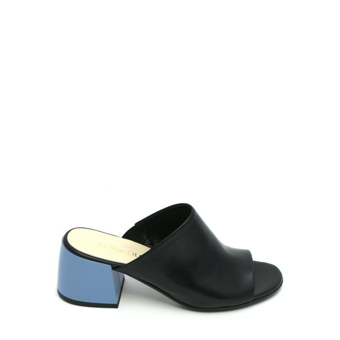 Image for Black and blue leather mules