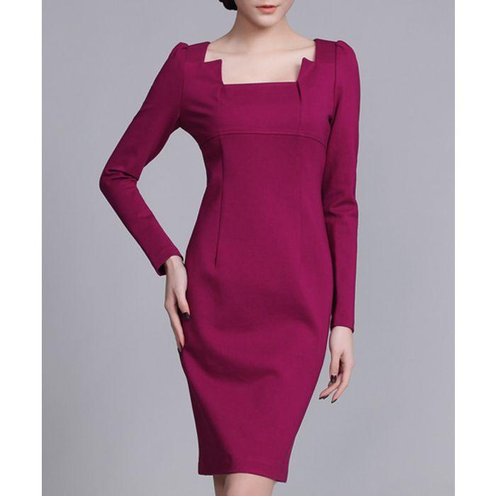 Image for Plum cut-away neck knee-length dress