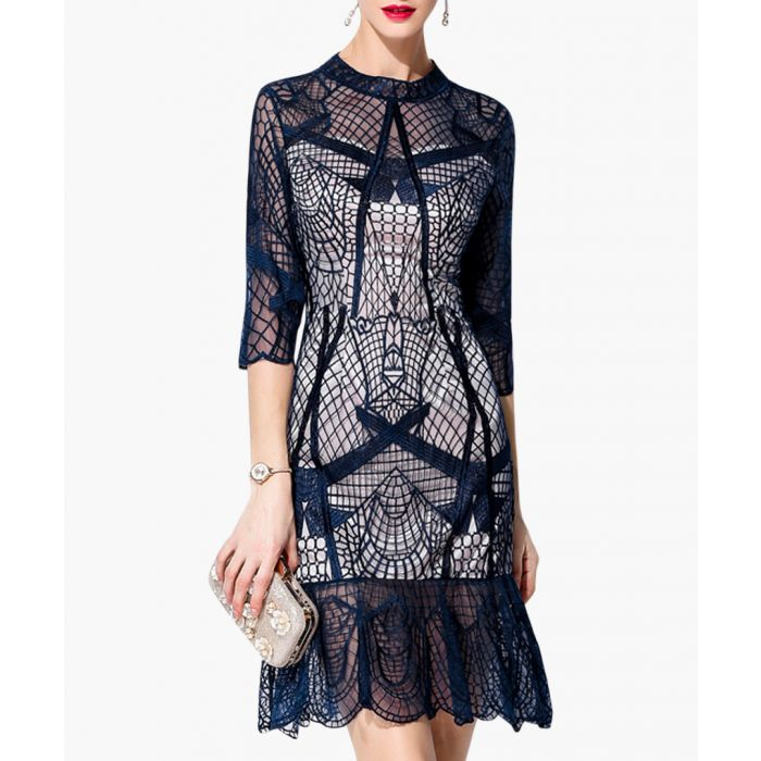 Image for Navy lace overlay ruffle hem dress