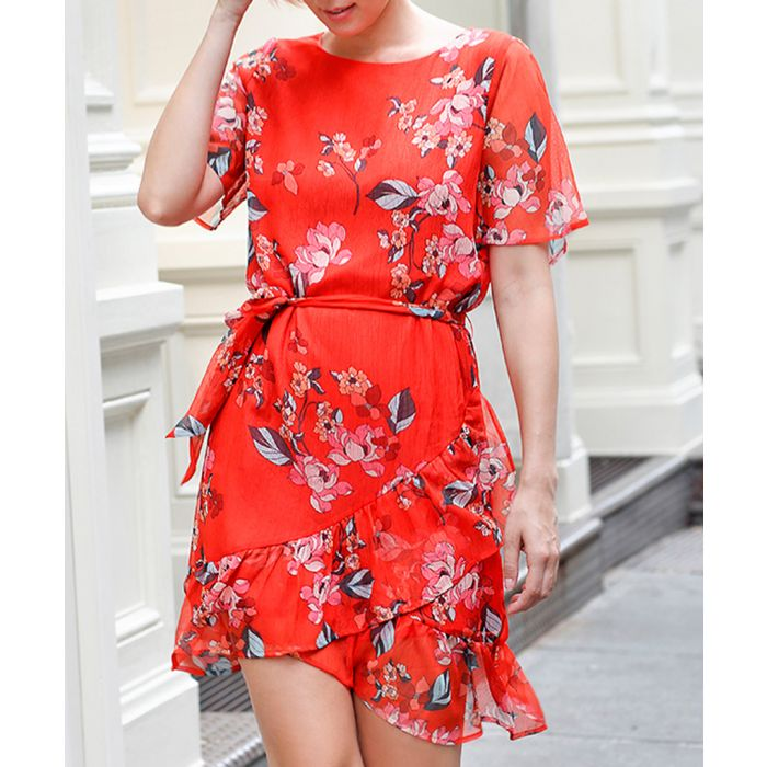 Image for Coral floral short sleeve mini dress