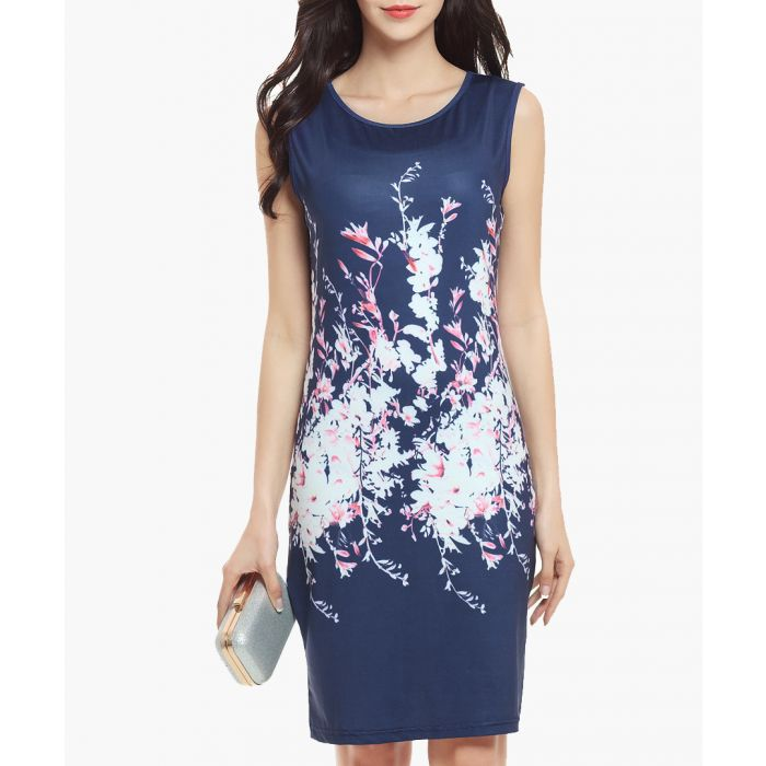 Image for Blue & white floral print dress