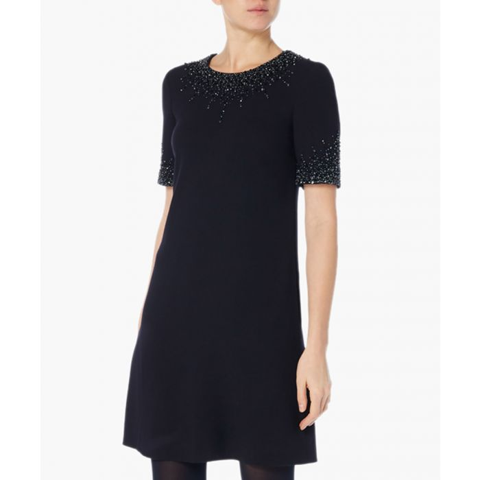 Image for Heaven dark navy beaded tunic dress