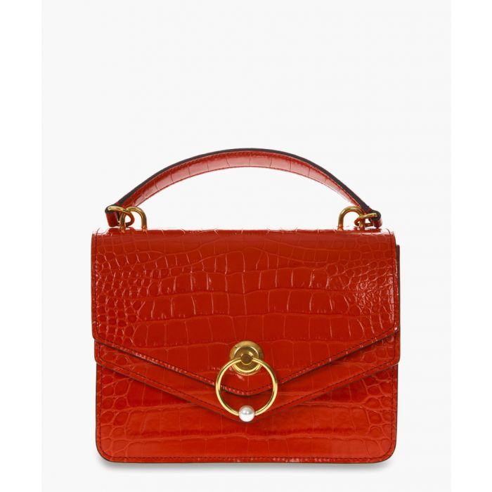 Image for Harlow red moc-croc leather shoulder bag