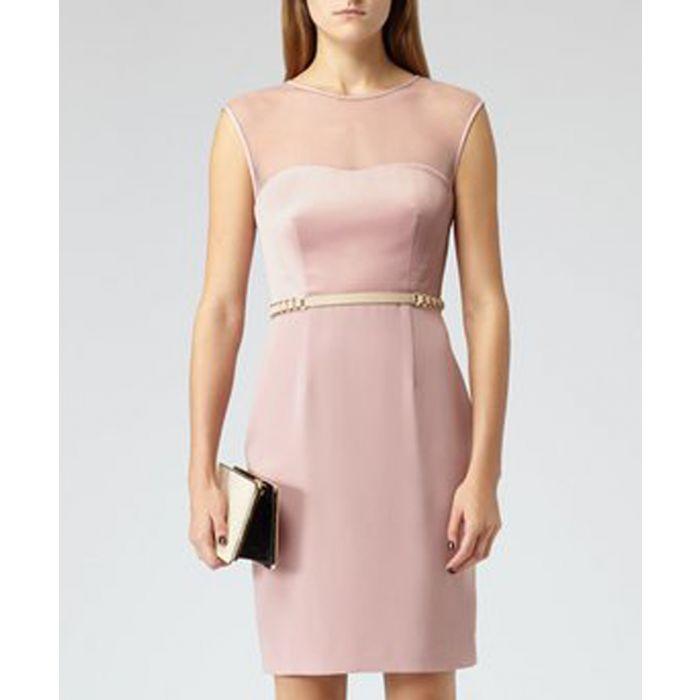 Image for Sorbet mesh illusion neck belted dress