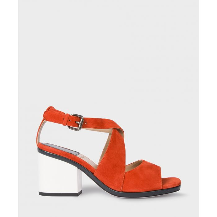 Image for Deep rust suede open-toe block heels