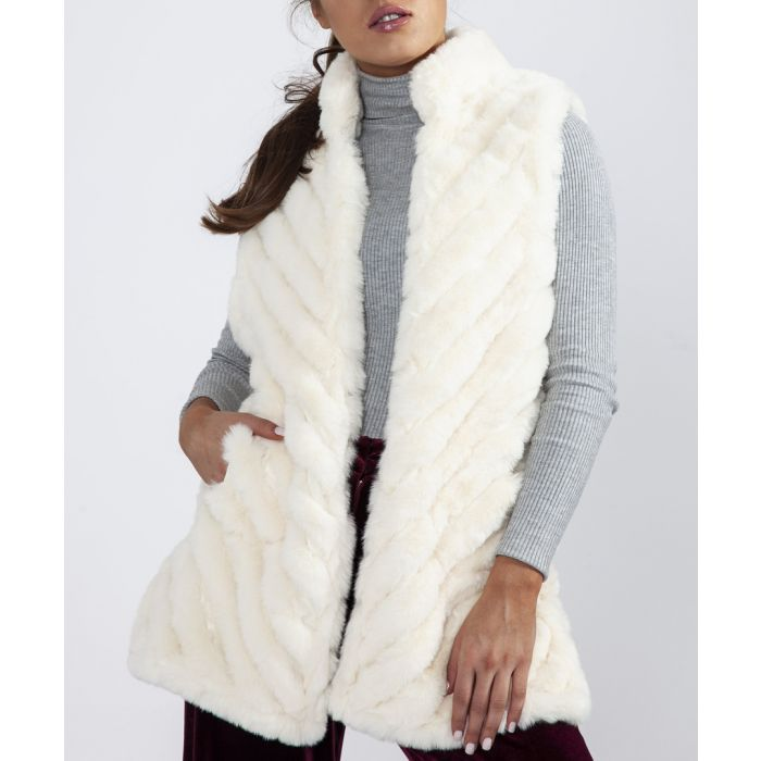 Image for White faux fur quilted gilet