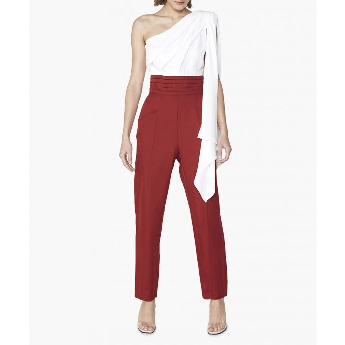 Image for Lisson white & red one-shoulder jumpsuit