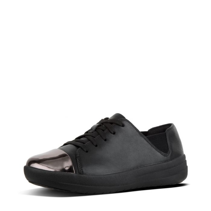 Image for F-sporty black leather mirror trainers