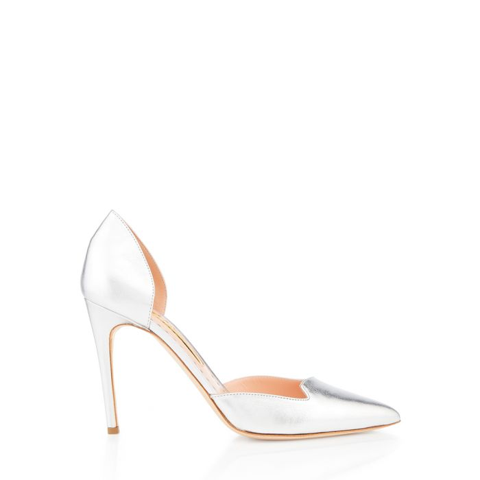 Image for Silver-tone nappa leather court heels