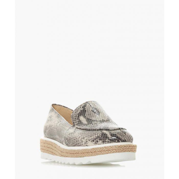 Image for Genie grey snake-effect flatform loafers