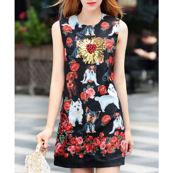 Image for Black & red rose print mini dress