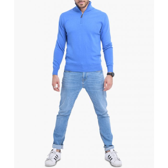 Image for Blue cashmere blend semi-zip jumper