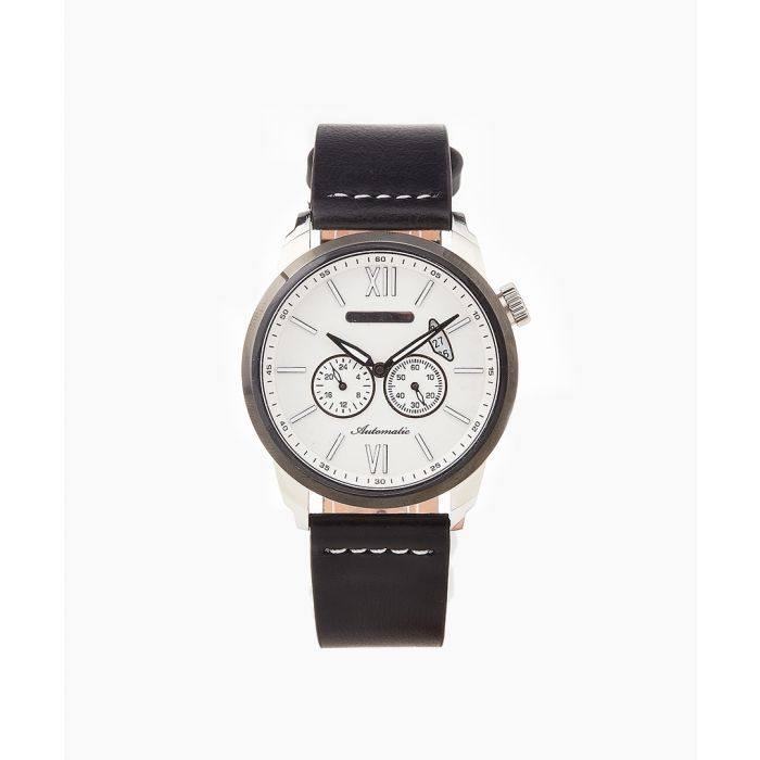 Image for Wellington steel and black leather watch