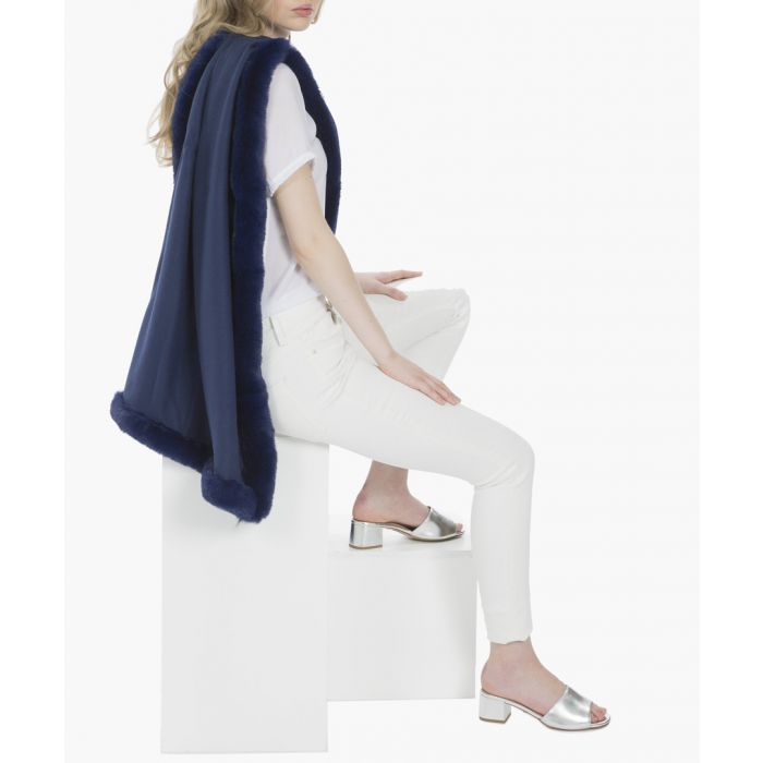 Image for Navy cashmere blend faux fur wrap
