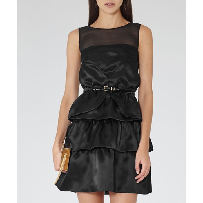 Image for Womens Beatrice black silk tier dress