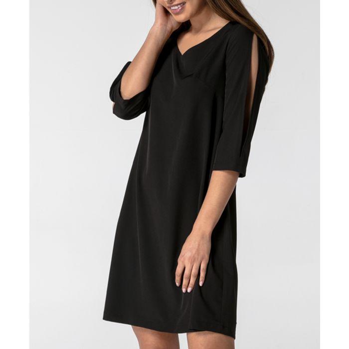 Image for Black slit sleeve v-neck dress