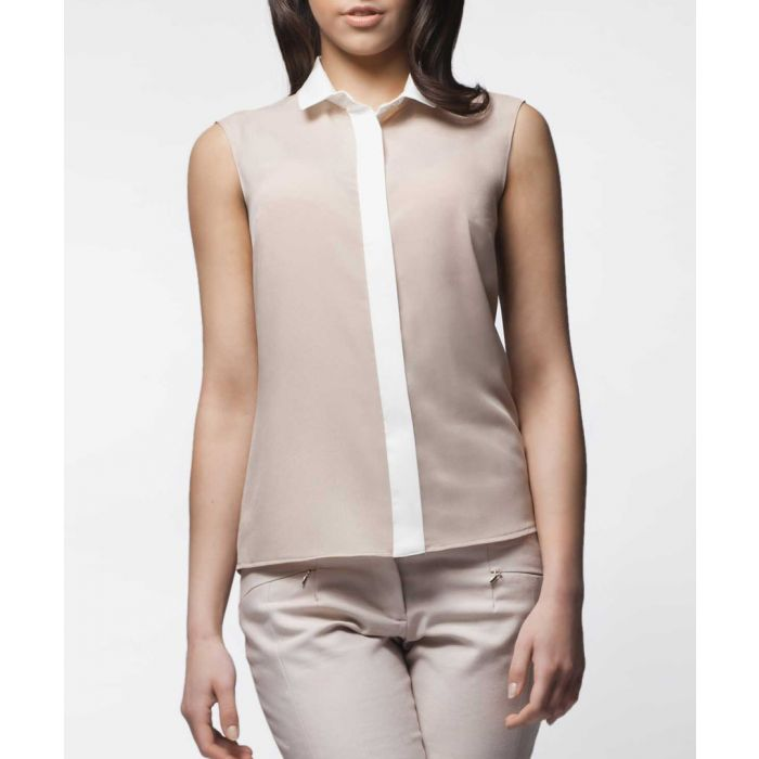 Image for Beige and white sleeveless shirt