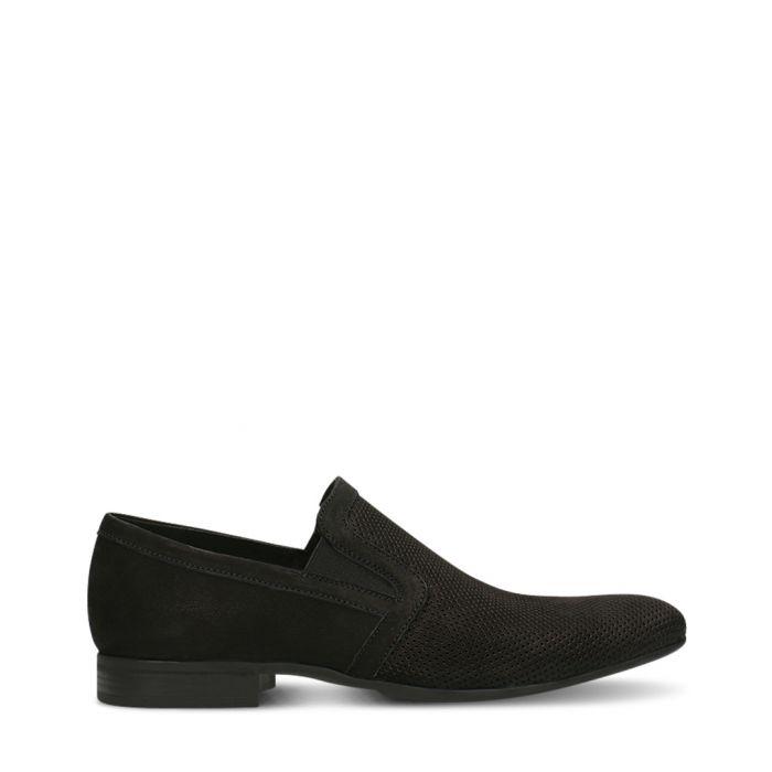 Image for Black nubuck slim loafers