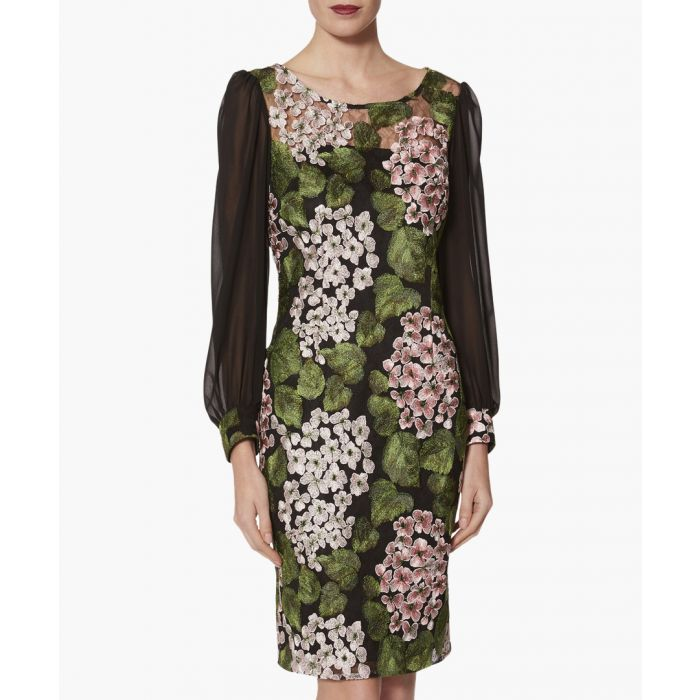 Image for Galina print chiffon sleeve dress