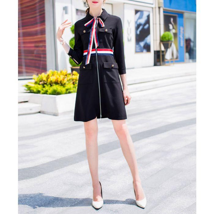 Image for Black & red striped knee-length dress