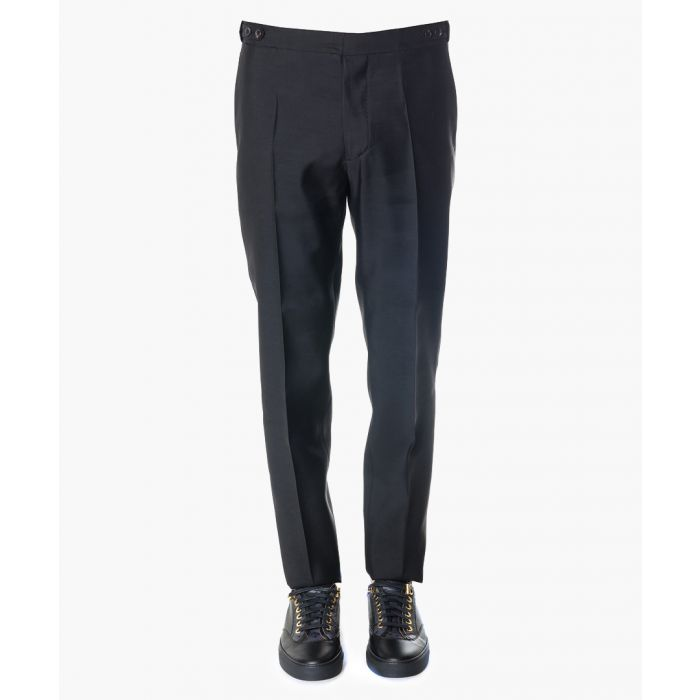 Image for Men's black wool & silk trousers